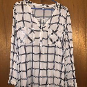 Blue/white plaid blouse